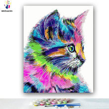 DIY Coloring paint by numbers Color cat side painting Abstract figure paintings by numbers with kits 40x50 framed(China)