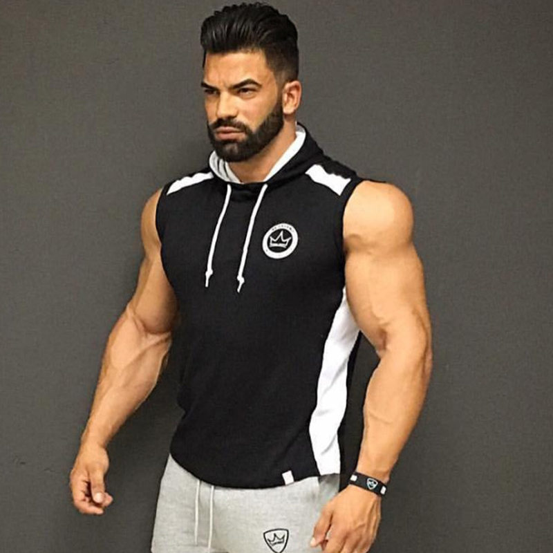 Men Bodybuilding   Tank     top   Man Gyms Fitness Sleeveless Sweatshirt Cotton Hooded Vest Male Casual Fashion Jogger Workout Clothing