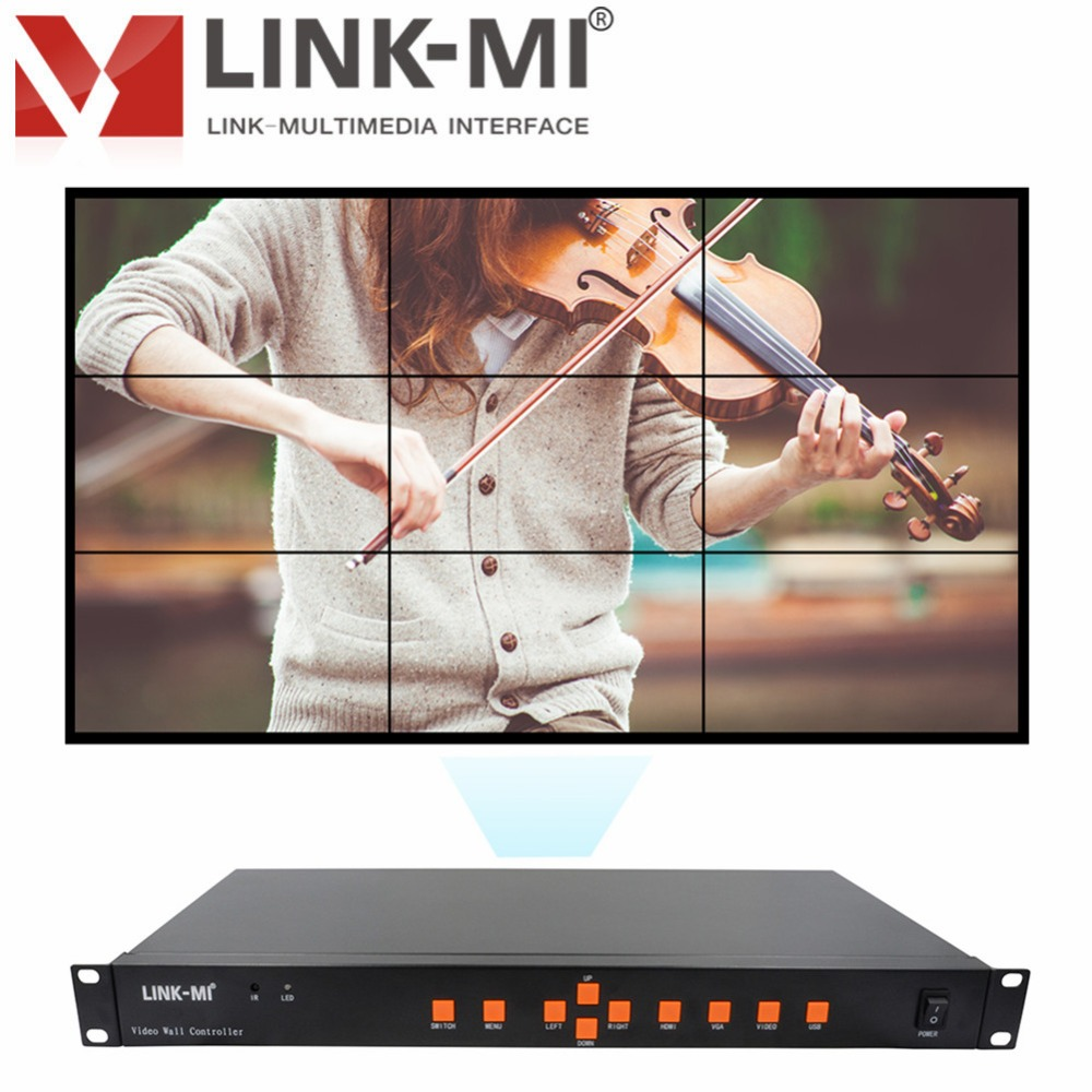 LINK-MI TV09 video wall controller processor for 3x3 LCD full HD video wall controller 1920x1080 Hdmi dvi vga av usb input pvt 898 5g 2 4g car wifi display dongle receiver airplay mirroring miracast dlna airsharing full hd 1080p hdmi tv sticks 3251