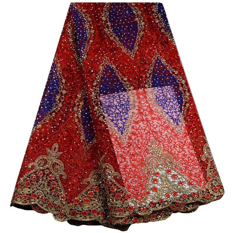 Czerwony kolor afryki koronki tkaniny haftowane koronki nigerii tkanina wyszywana kamieniami wysokiej jakości francuski Tulle koronki tkaniny dla kobiet F422 w Koronka od Dom i ogród na  Grupa 1