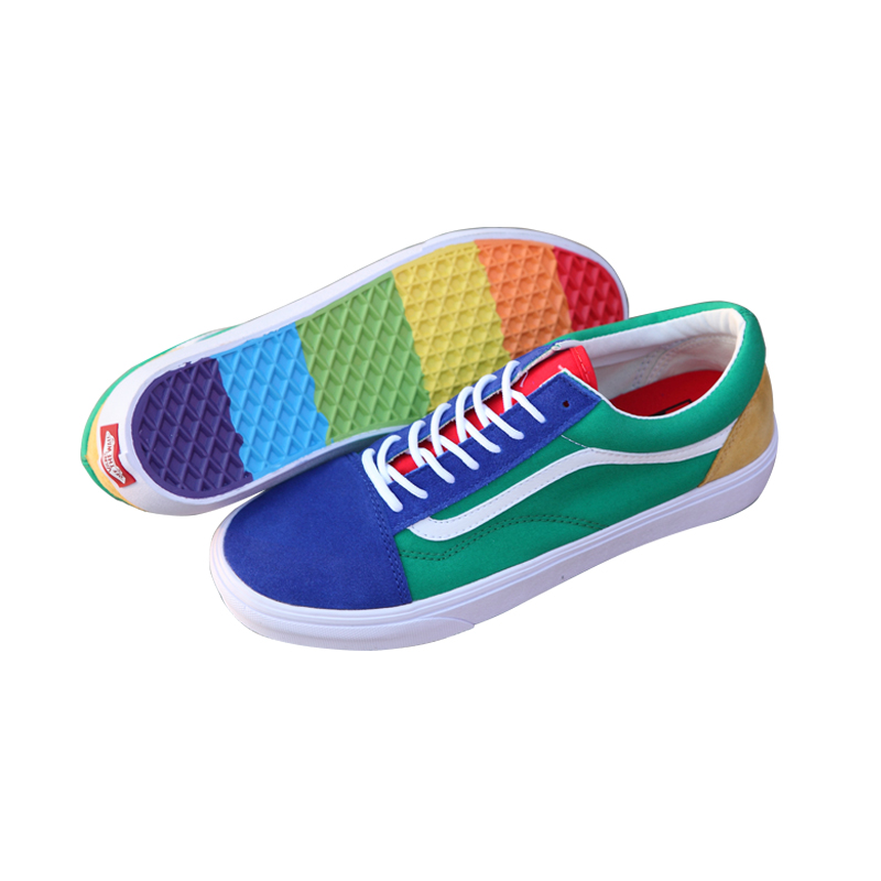 74fff2bb7bd6 Vans Old Skool Original Skateboarding Shoes Outdoor Rainbow Retro Blue and  Green Color for Men VN0A38G1R1Q 40 44-in Skateboarding from Sports ...