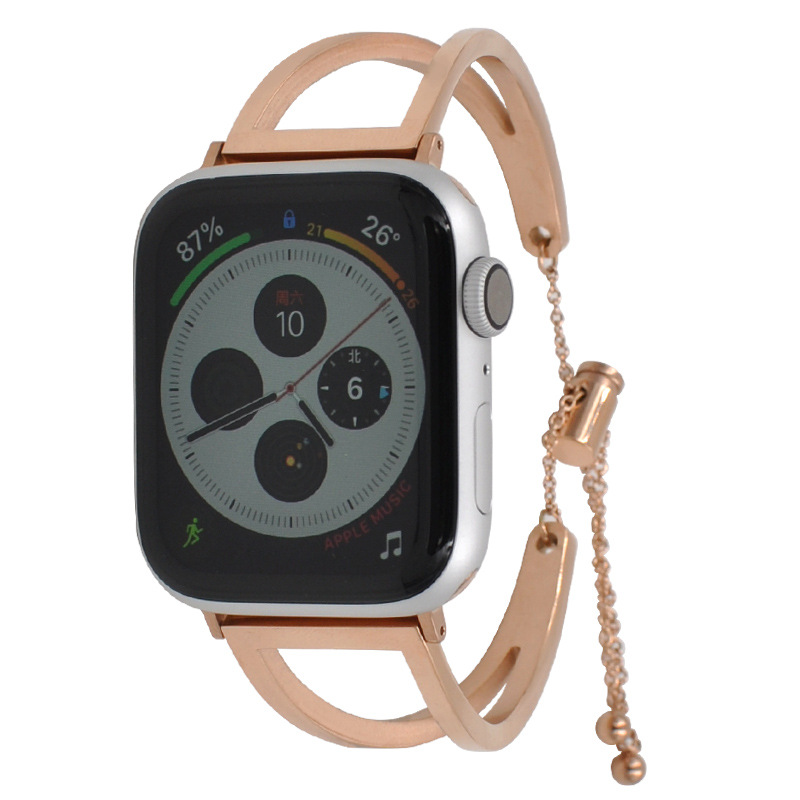Fashion Rose Gold 38mm/42mm Apple Watchbands Women Watch Accessories Stainless Steel Bracelet Strap for iwatch with Connectors Watchbands    - title=