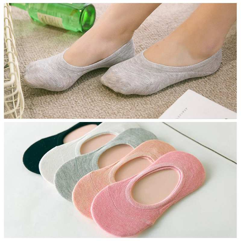 Soft Breathable Femme Solid Cotton Ankle Socks Girls Boat Sock Summer Socks Women Non-Slip Invisible Short Socks