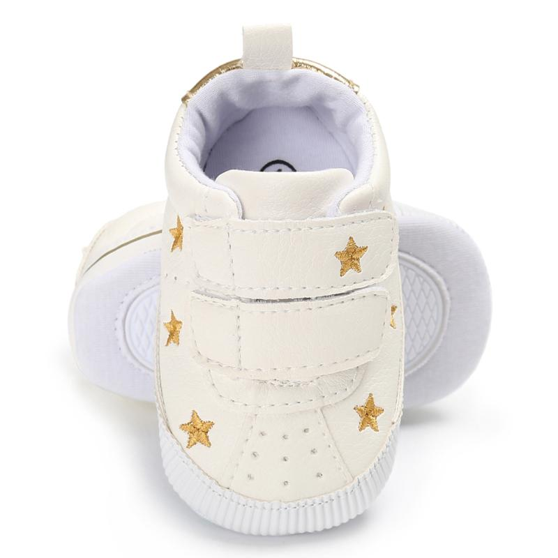 Newborn Baby Shoes Boys Girls Soft Sole Anti Slip Sneaker Infant PU Leather Gold Stars Pattern First Walkers