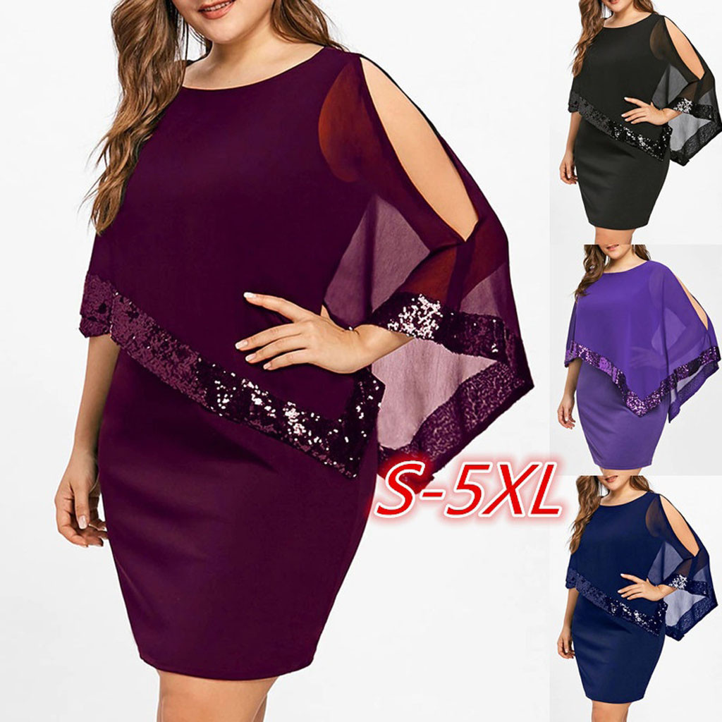 High Quality Casual Women Plus Size Cold Shoulder Overlay Asymmetric Chiffon Strapless Sequins Dress Travel Teenage