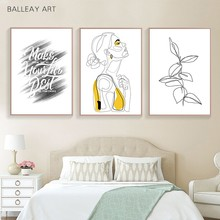 Abstract Women Line Art Drawing Nordic Poster&Prints Modern Canvas Painting Wall Art Yellow Girl Wall Picture Bedroom Home Decor(China)