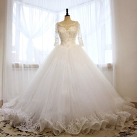 Ball Gown Wedding Dresses hochzeitkleider 2018 Puffy Lace Beaded Applique White Long Sleeve Arab Wedding Gowns robe de mariage