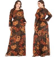 Plus Size Women Printed Long Maxi Dress Muslim Abaya Dubai Kaftan islamic Flower Jilbab Arab Party Gown Robe Bodycon Vintage New