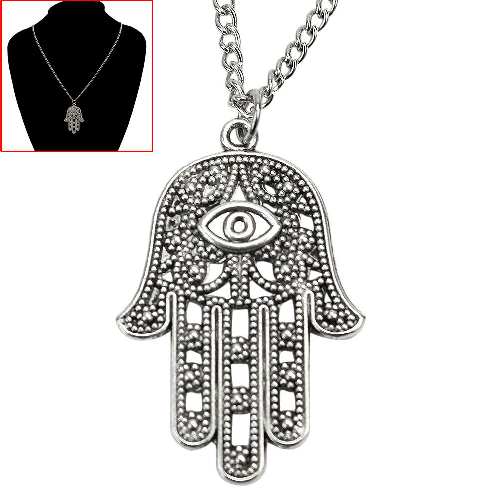 Refaxi Refaxi Chic Hamsa Hand of Fatima Style Pendant Adjustable Chain Necklace For Women Lady in Pendant Necklaces from Jewelry Accessories