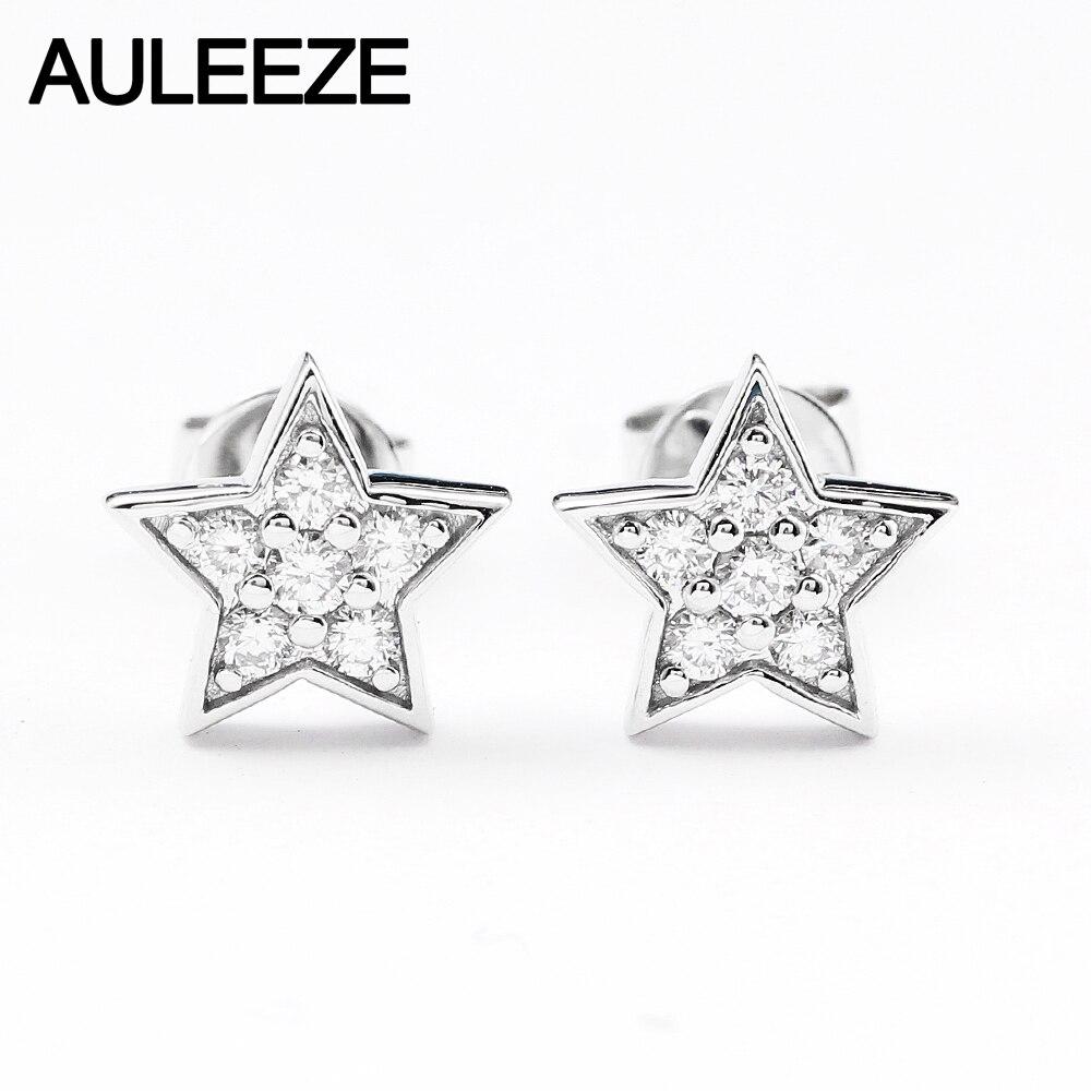 AULEEZE, Звездный дизайн, 0,2 cttw, настоящие натуральные бриллиантовые серьги, твердые, 18 К, белое золото, бриллиантовые серьги гвоздики, Прекрасны