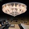 Modern Lustre K9 Crystal Peacock E14 Led Ceiling Light Creative Frosted Glass Diningroom Led Ceiling Lamp Round Foyer Led Lights