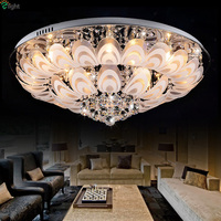 2015 Modern Simple LED Ceiling Light Frosted Glass Ceiling Lamp Round Style K9 Crystal Ceiling Light