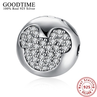 Cute Real Solid 925 Silver Mickey Shape Charms For Jewelry Making Authentic 925 Sterling Silver Jewelry