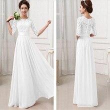 SEBOWEL Long Inside Top Quality 2016 Women Elegant Lace Dress Long Maxi Dresses Chiffon Half sleeve Evening Wedding Party Dress