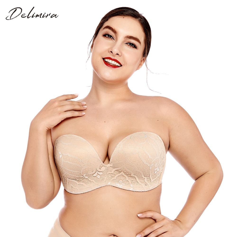 2d6f3d3ea2cc7 Delimira Women s Sexy Lace Slightly Padded Underwire Lift Support Plunge  Push Up Strapless Bra Plus Size