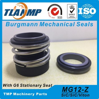 MG12/60-Z  , MG12/60-G6 , MG12-60 Burgmann Rubber Bellow Mechanical Seals with G6 Stationary Seat (Material:SiC/SiC/VIT)