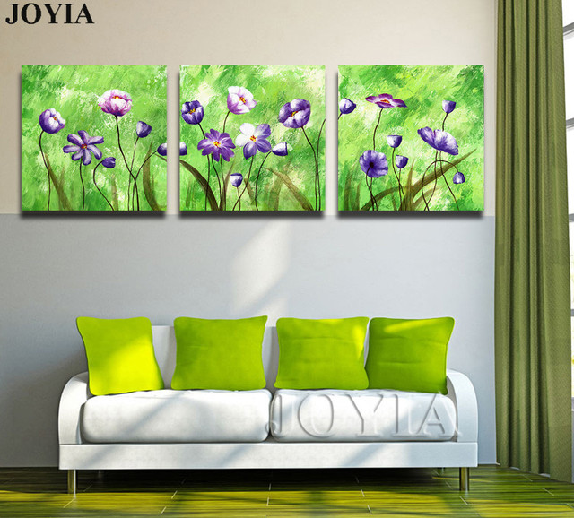 3 Piece Triple Paintings Set Abstract Floral Wall Art Printed Canvas Green  Color Art Picture For