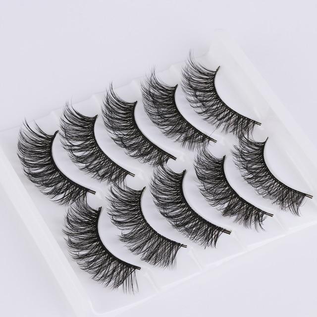 Handmade 5 Pairs 3D Messy False Eyelashes Wispy Crisscross Fluffy Fake Lashes Natural Long Volume Eyelash Extension Makeup Tool False Eyelashes