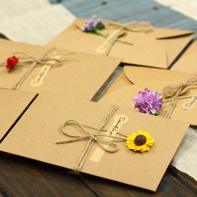 Aliexpress buy 5pcs greeting cards retro diy handmade dried 5pcs greeting cards retro diy handmade dried flower thank you note birthday party card m4hsunfo