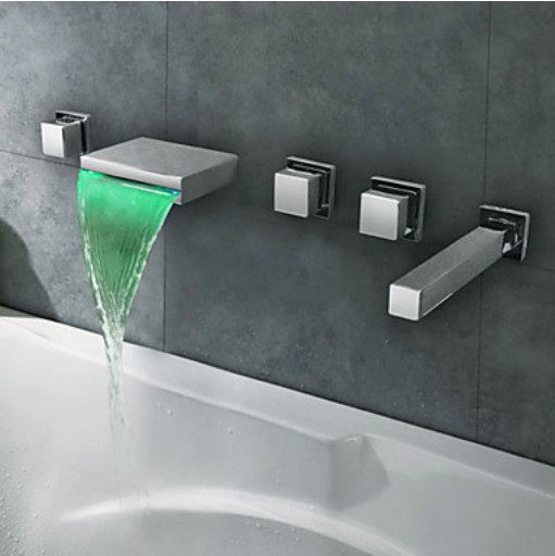 LED Light Waterfall Bathtub Faucet Wall Mount 5 Holes Mixer Tap with Handheld Sprayer Head