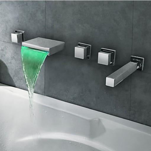 LED Light Waterfall Bathtub Faucet Wall Mount 5 Holes