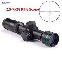 MIZUGIWA Tactical Optical Sight 2 5 7x28 Riflescope Reticle Optical Sight Air Rifle Scope Hunting Caza