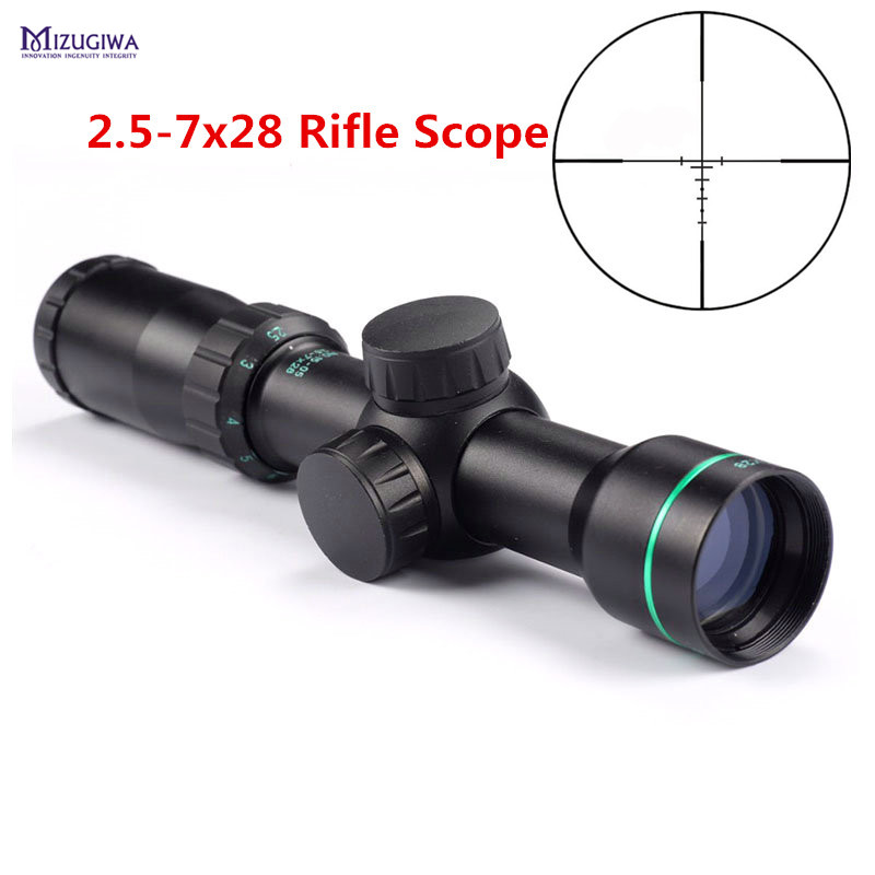 MIZUGIWA Tactical Optical Sight 2 5 7x28 Riflescope Reticle Optical Sight Air Rifle Scope font b