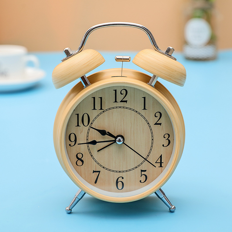 4 Children Creative Small Mute Silent Round Double Bell Wood Student Alarm Clock Electronic Digital Table Clock Desktop Clock