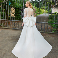 Dressv Champagne Wedding Dress Scoop Neck Appliques 3 4 Sleeves Mermaid Bridal Gown Elegant Outdoor Church