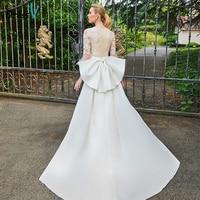 Dressv Champagne Wedding Dress Scoop Neck Appliques 3 4 Sleeves Mermaid Bridal Gown Elegant Outdoor Church