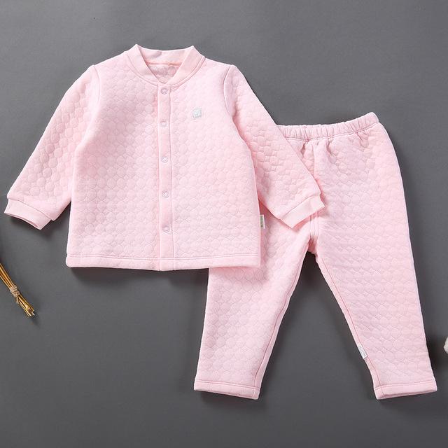 2017 Meninos Das Meninas Do Bebê Primavera Cardigan Conjunto de Roupas Terno Infantil 100% Roupa Interior de Algodão Pijamas de Criança set Johns Longo 6 M para 5Y