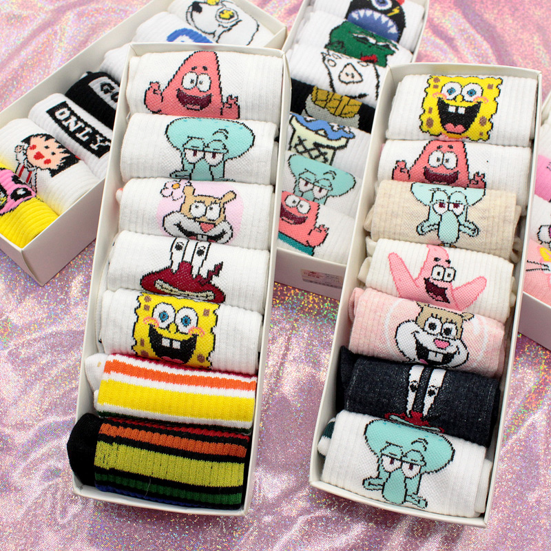 SP&CITY 7 Pairs Harajuku Women Funny Patterned Short Cotton   Socks   Colored Hipster Ankle Cool Women Student Cute Casual Art Sox