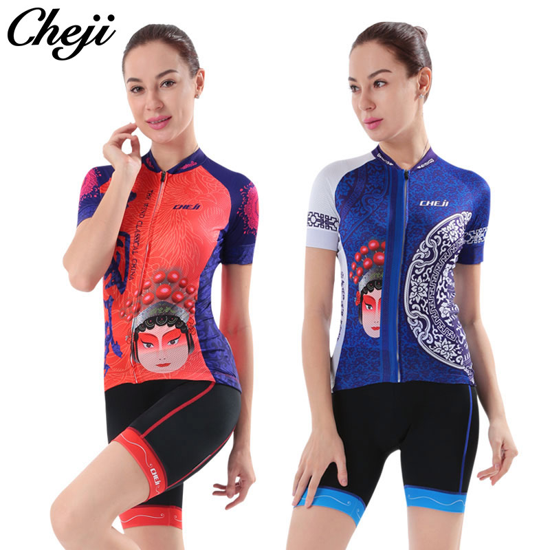 Cheji 2017 Women Cycling Wear Short Sleeve Jersey Cycle Shorts Sets Quick Dry Anti-UV Bike Jersey AllSize Women Cycling Clothing