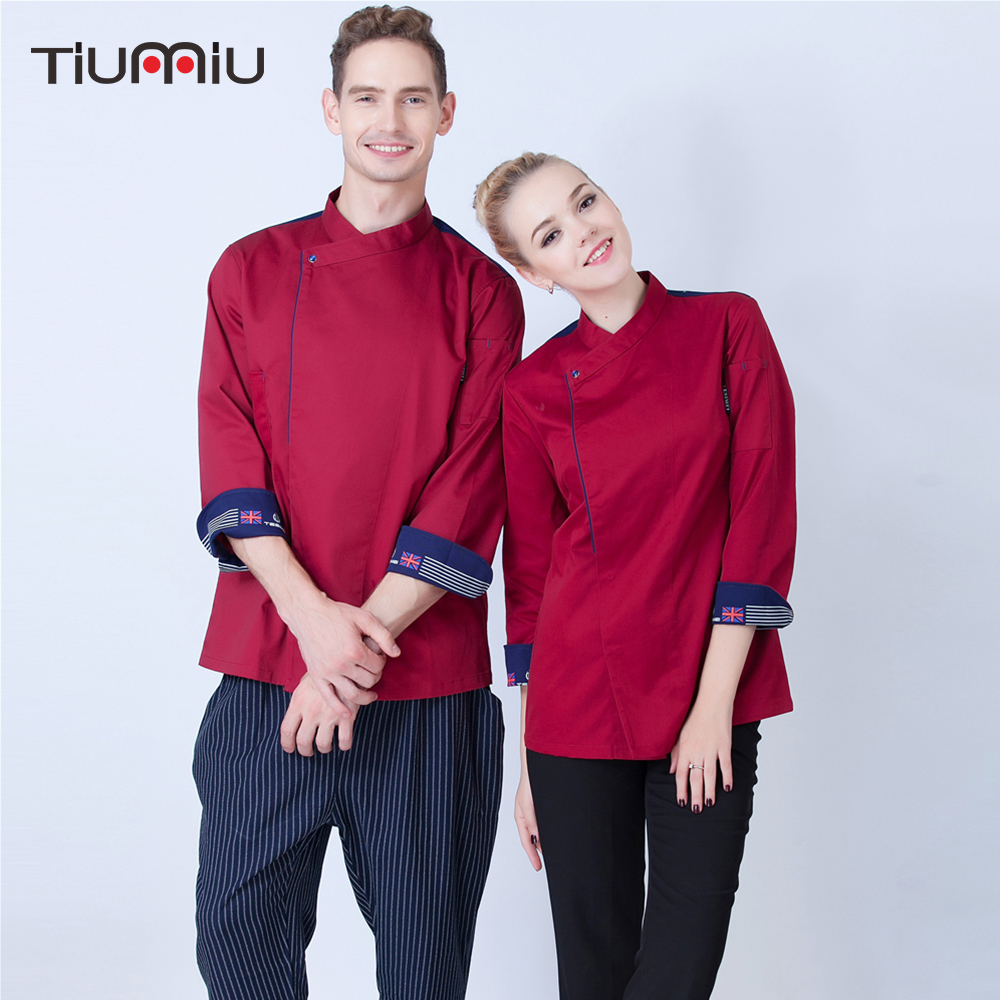Chef Single Breasted Jacket Cooking Workwear Long Sleeve Chef Coat Restaurant Kitchen BBQ Waiter Work Wear Uniforms High Quality