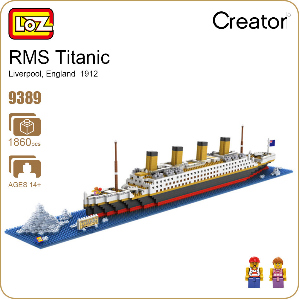 LOZ Diamond Blocks Technic Bricks Building Blocks Toy RMS Titanic Ship Steam Boat Model Toys for Children Micro Creator 9389 loz diamond blocks assembly display case plastic large display box table for figures nano pixels micro blocks bricks toy 9940