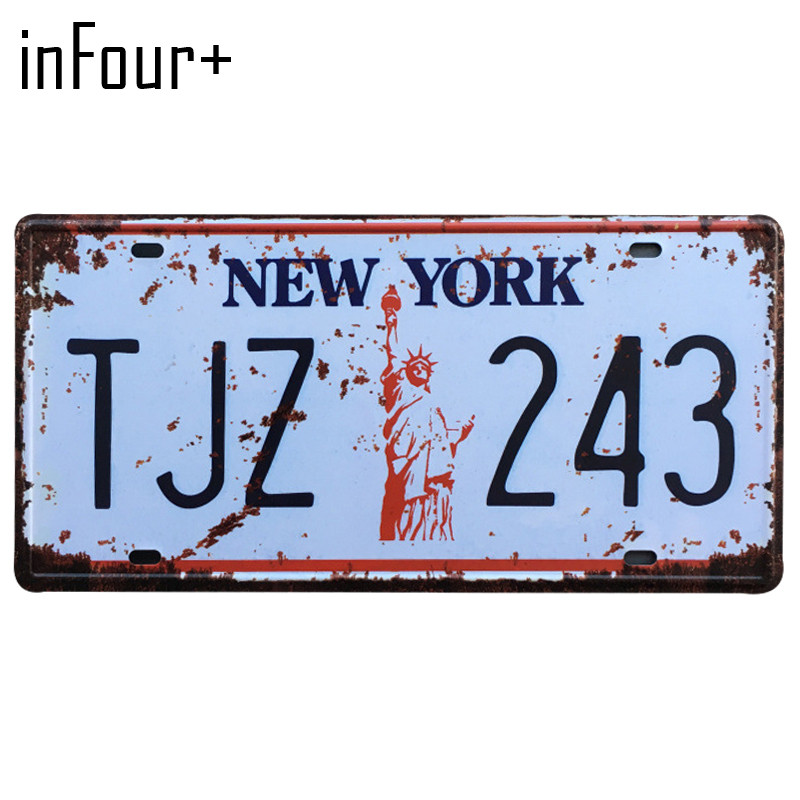 [inFour+] TJZ-243 License Plate Metal Plate Car Number Tin Sign Bar Pub Cafe Home Decor Metal Sign Garage Painting Plaques Signs
