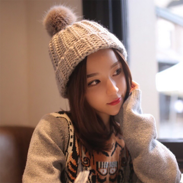 Newest pretty girls winter necessity rabbit hair ball hat fashion women  comfortable thick warm outdoor knitted baa387c0d933