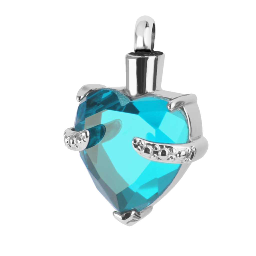 2 Pieces Crystal Heart Cremation Jewellery Ash Urn Pendant Keepsake Necklace