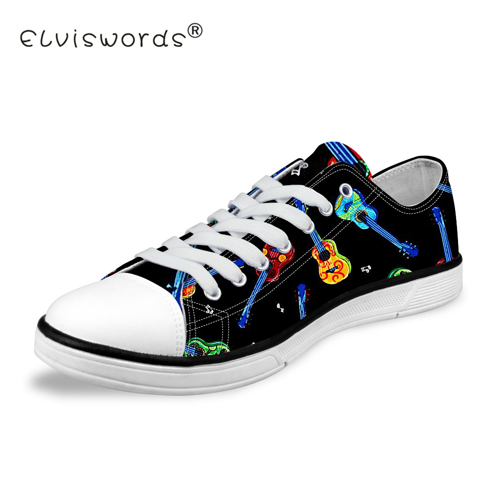 ELVISWORDS Guitar Printed Vulcanize Shoes Women Low Top Canvas Shoes Teenagers Classic Sneakers for Students Fashion Flat Shoes