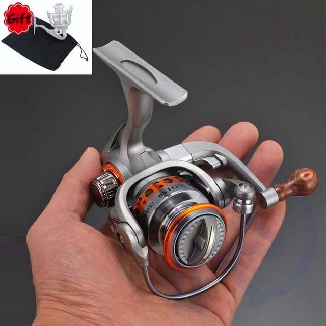 Mini Fishing Reel Small Silver Gold Spinning Fishing Wheels 12+1BB Folding Handle Metal Stainless Steel Bearing Fishing Reel