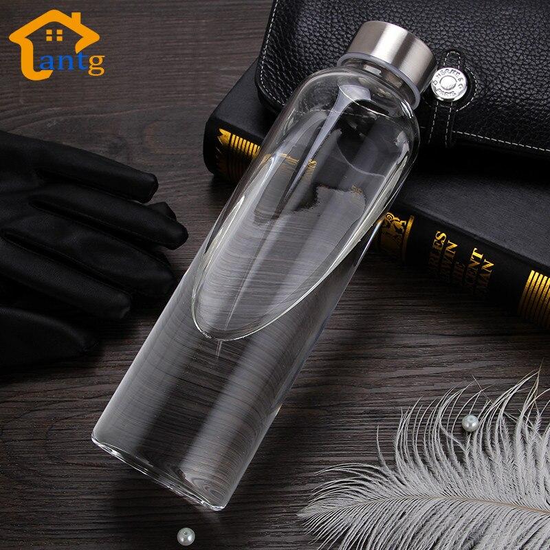 בקבוק מים עם תיק מגן זכוכית Drinkware נסיעות תה זכוכית בקבוק שקוף בקבוק מים בקבוק ספורט נייד