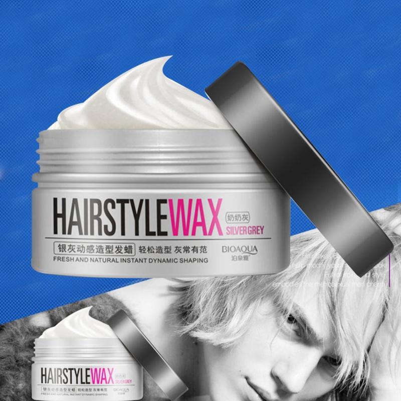 1Pc Professional Silver Grey Color Men women Hair Pomades Wax Moisturizing Styling Fluffy Matte Hair Mud Cream Y1-5