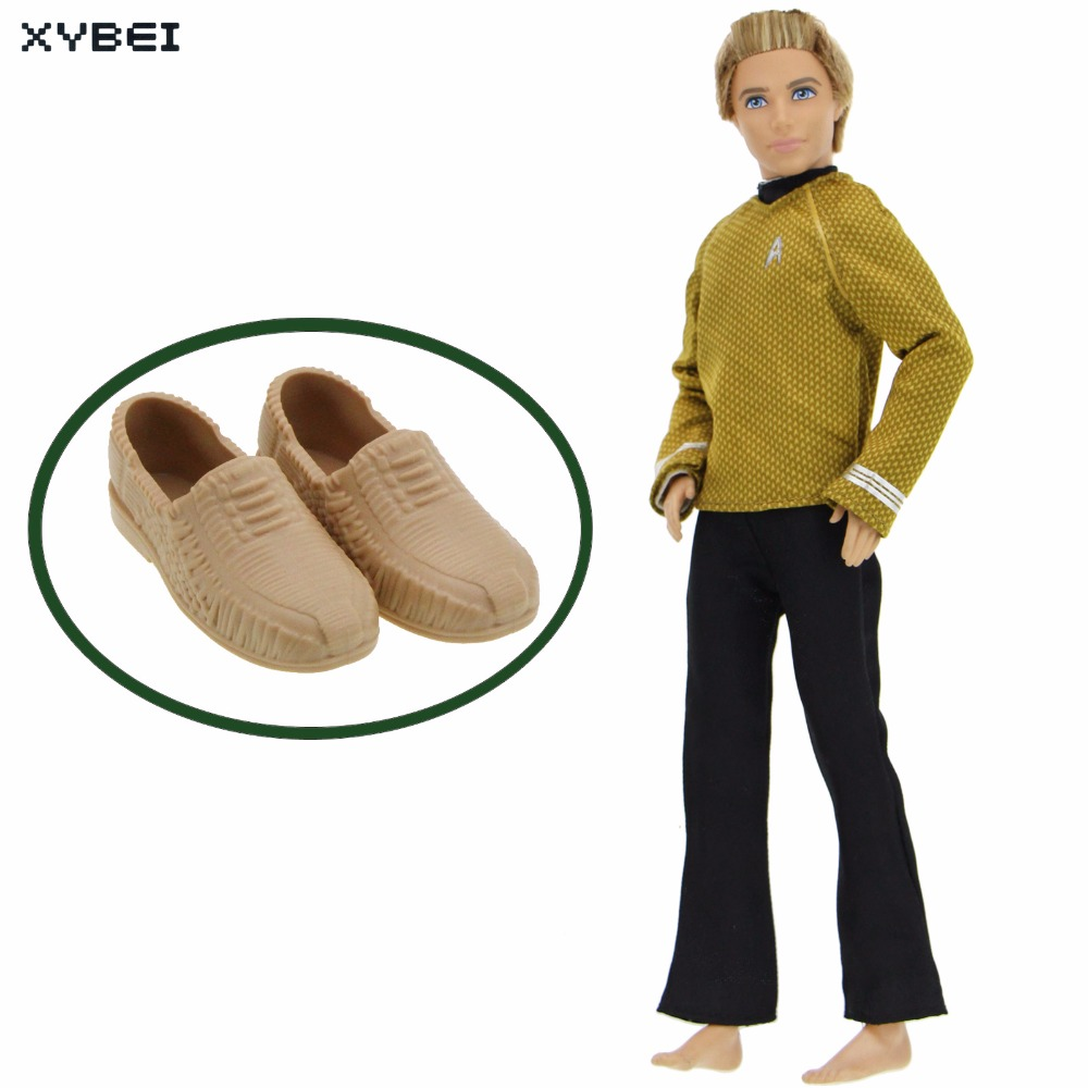2 Pcs/lot = 1x Handmade Outfit Long Sleeves Yellow Shirt Trousers +1x High Quality Shoes Clothes For Barbie Doll Ken Accessories high quality elastic leather bottoms pants trousers for barbie doll clothes fashion outfit for 1 6 bjd dolls accessories