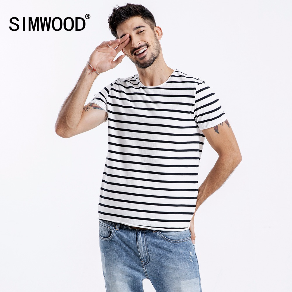 059d7a93 SIMWOOD 2018 Short Sleeve Men T-shirts Fashion Casual Slim Fit Black-White  Striped Tops Tees Plus Size Free Shipping 180356