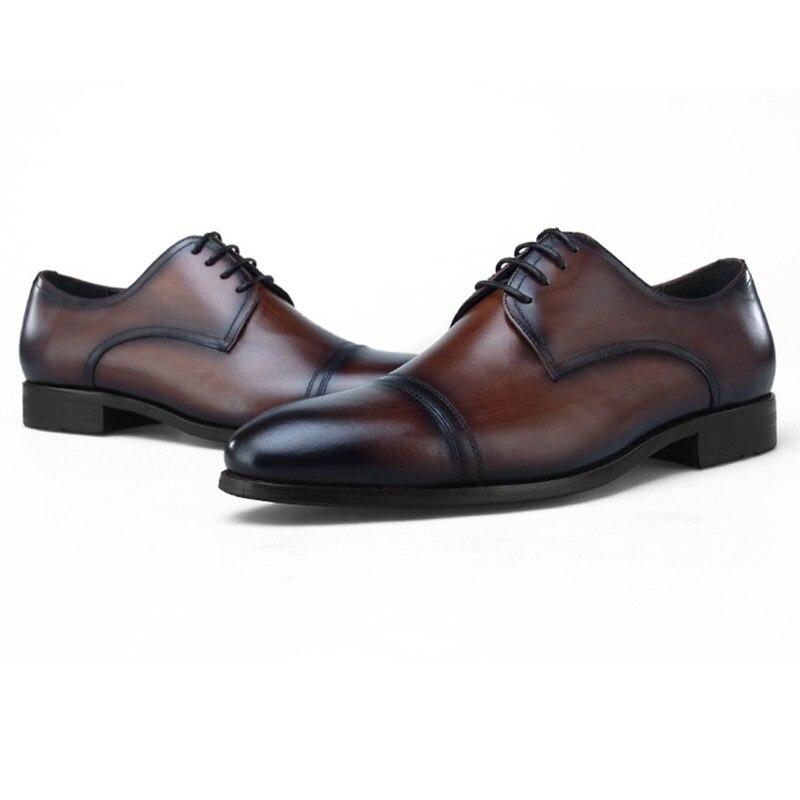 Mode noir/marron Tan robe de mariée chaussures en cuir véritable Oxfords hommes chaussures d'affaires