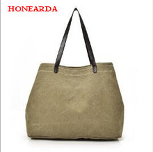 Casual handbags ladies simple canvas shoulder bag womens large-capacity multi-layer