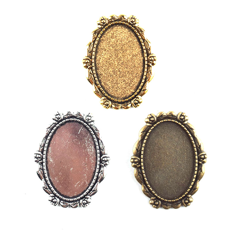 5pcslot antique bronze fashion jewelry making crafting charms findings bulk retro accessoires oval brooch