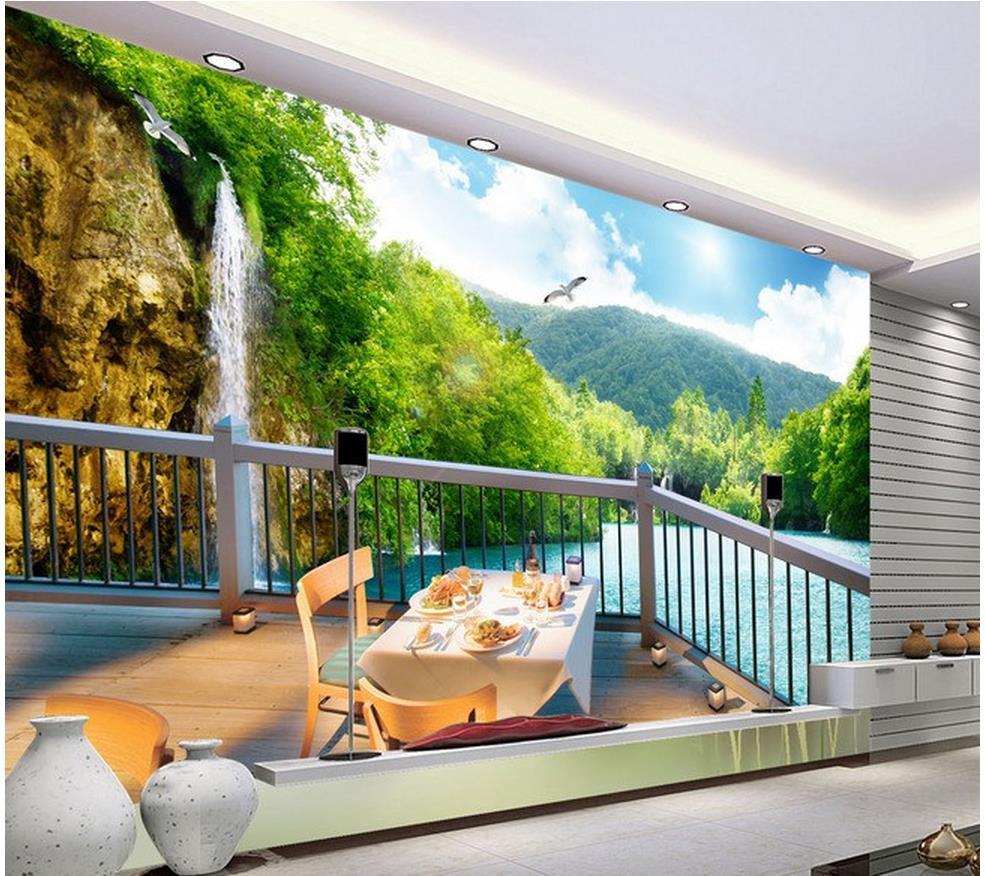 3d Mural壁紙3dルーム壁紙風景美しい風景3d風景バルコニーテレビの背景