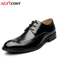 2016 Sping Fashion Oxfords Formal Shoes Genuine Leather Dress Shoes Men S Brogue Carved Flats Vintage