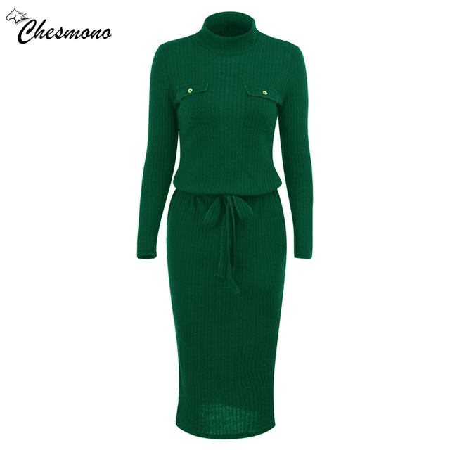 Winter High Elasticity knitted bodycon dress women casual long sleeve waist tie dress Elegant warm slim sweater dress vestidoes